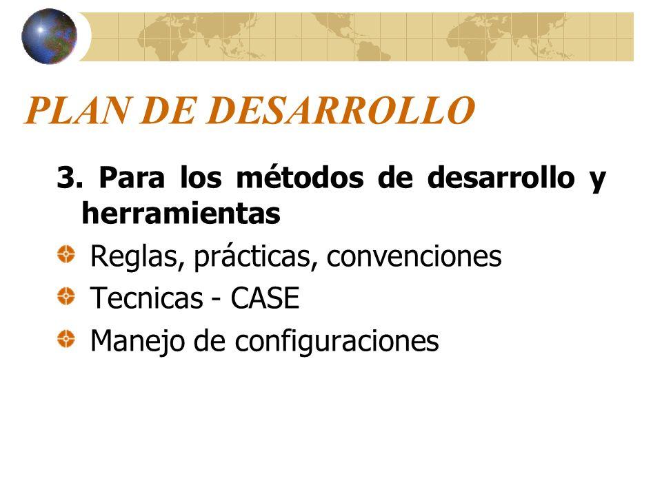 PLAN DE DESARROLLO 3. Para los métodos de desarrollo y herramientas Reglas, prácticas, convenciones Tecnicas - CASE Manejo de configuraciones