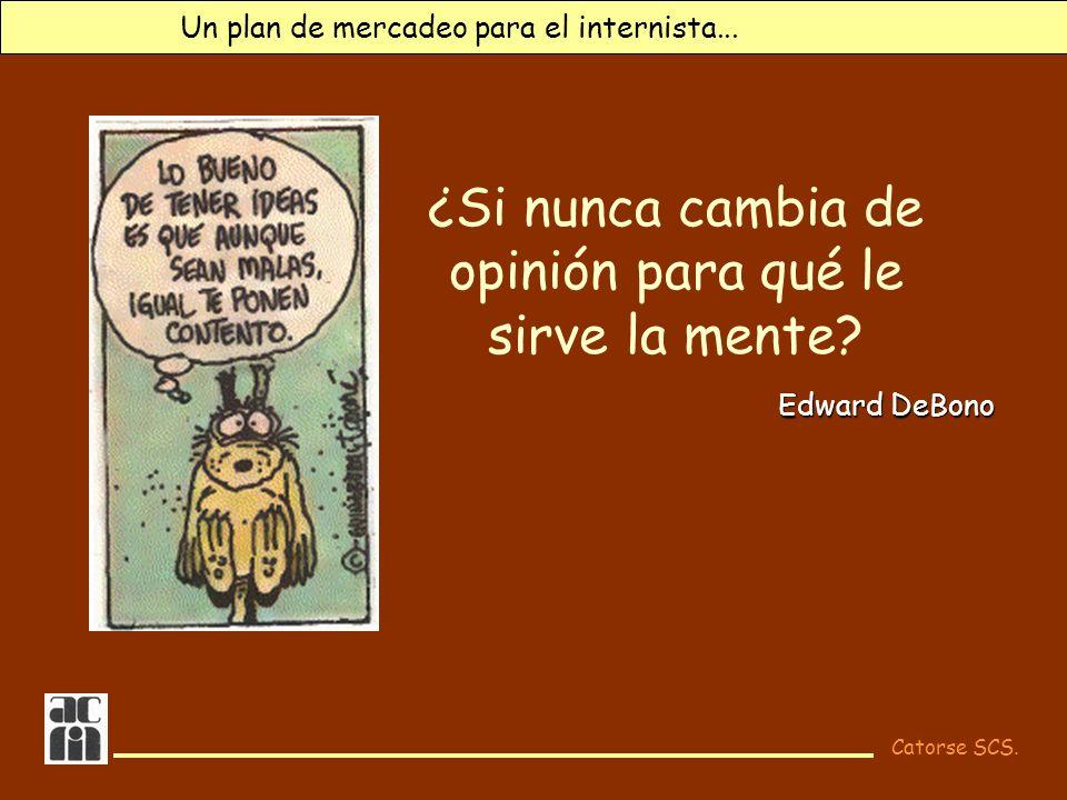 Catorse SCS. Un plan de mercadeo para el internista... ¿Si nunca cambia de opinión para qué le sirve la mente? Edward DeBono
