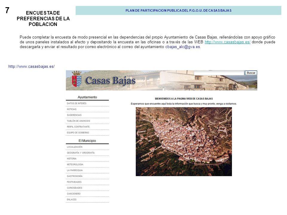 7 ENCUESTA DE PREFERENCIAS DE LA POBLACION Puede completar la encuesta de modo presencial en las dependencias del propio Ayuntamiento de Casas Bajas,