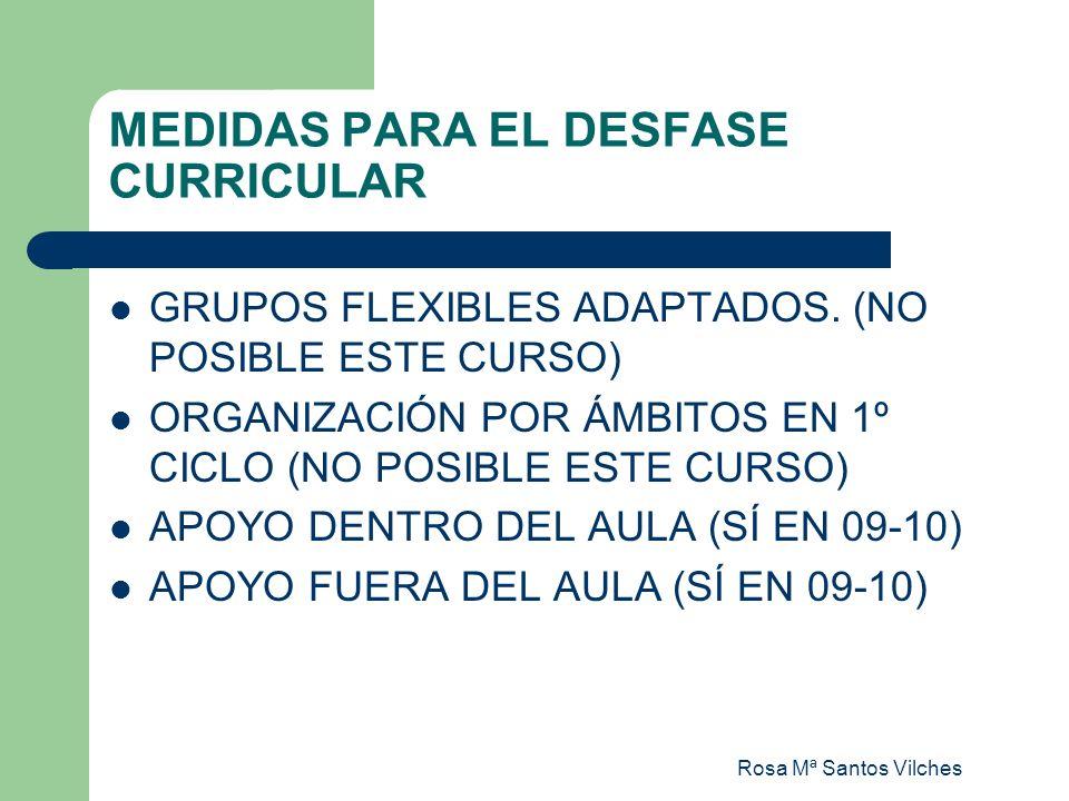 Rosa Mª Santos Vilches MEDIDAS PARA EL DESFASE CURRICULAR GRUPOS FLEXIBLES ADAPTADOS. (NO POSIBLE ESTE CURSO) ORGANIZACIÓN POR ÁMBITOS EN 1º CICLO (NO