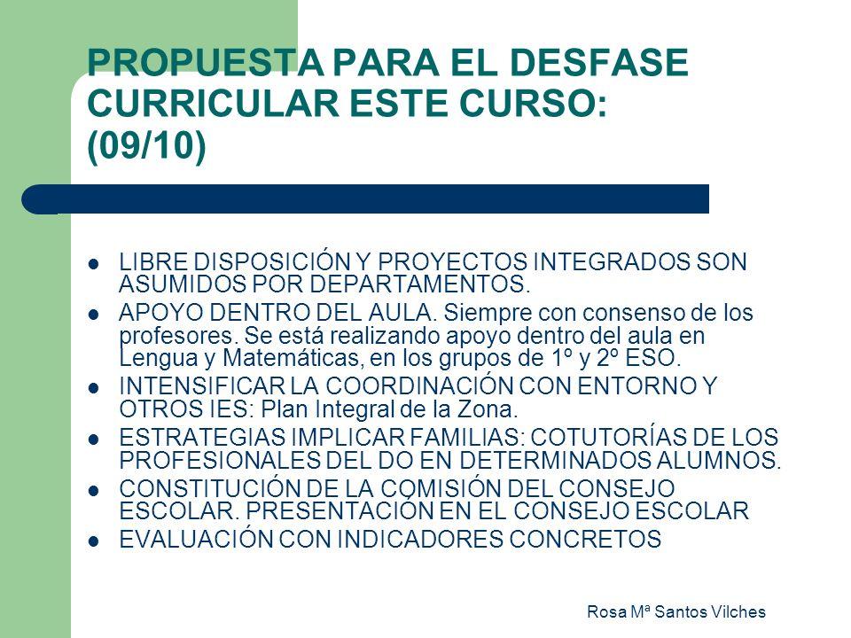 Rosa Mª Santos Vilches PROPUESTA PARA EL DESFASE CURRICULAR ESTE CURSO: (09/10) LIBRE DISPOSICIÓN Y PROYECTOS INTEGRADOS SON ASUMIDOS POR DEPARTAMENTO