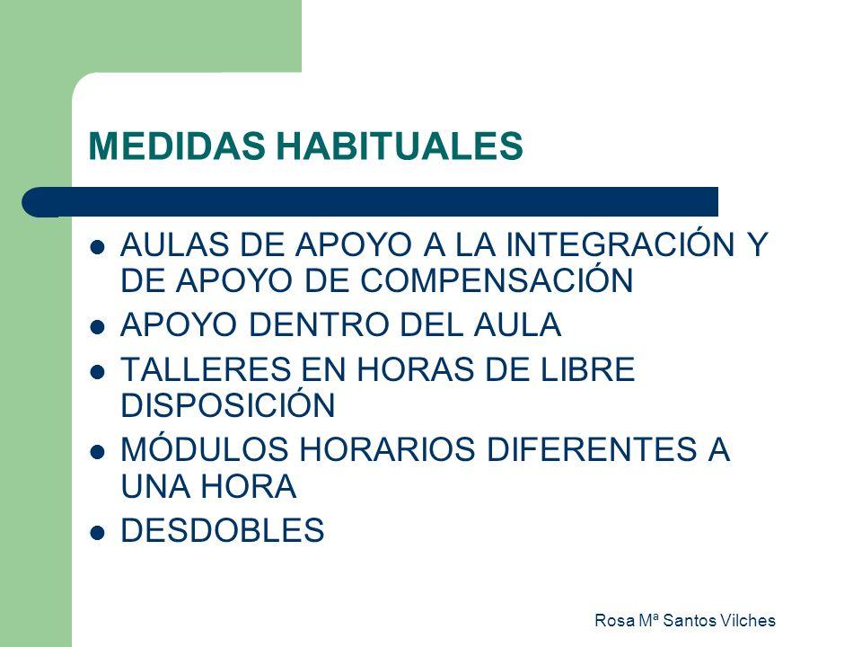 Rosa Mª Santos Vilches MEDIDAS HABITUALES AULAS DE APOYO A LA INTEGRACIÓN Y DE APOYO DE COMPENSACIÓN APOYO DENTRO DEL AULA TALLERES EN HORAS DE LIBRE