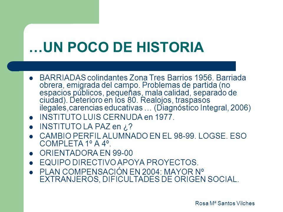 Rosa Mª Santos Vilches …UN POCO DE HISTORIA BARRIADAS colindantes Zona Tres Barrios 1956. Barriada obrera, emigrada del campo. Problemas de partida (n
