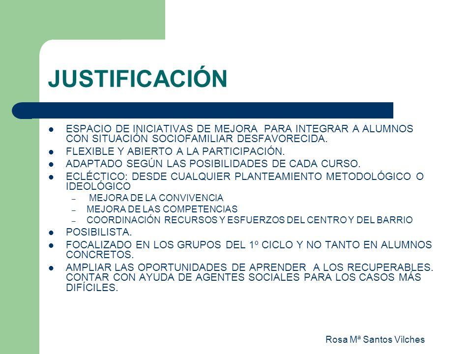 Rosa Mª Santos Vilches JUSTIFICACIÓN ESPACIO DE INICIATIVAS DE MEJORA PARA INTEGRAR A ALUMNOS CON SITUACIÓN SOCIOFAMILIAR DESFAVORECIDA. FLEXIBLE Y AB