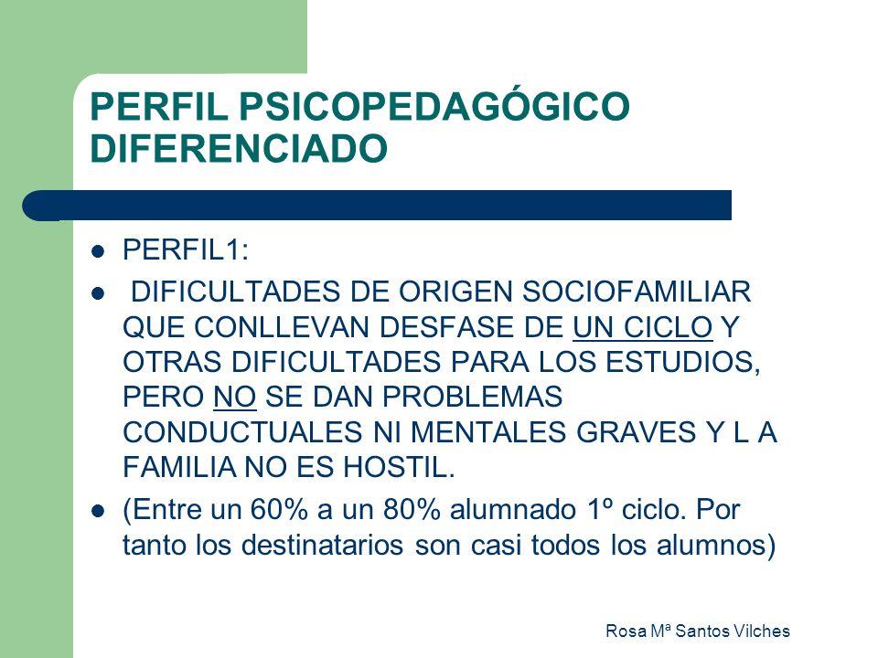 Rosa Mª Santos Vilches PERFIL PSICOPEDAGÓGICO DIFERENCIADO PERFIL II: DIFICULTADES DE ORIGEN SOCIOFAMILIAR QUE CONLLEVAN UN GRAN DESFASE CURRICULAR (DE DOS CICLOS O MÁS) Y/O DIFICULTADES DE CONDUCTA GRAVES Y/O EL ENTORNO FAMILIAR PUEDE SER HOSTIL AL CENTRO.