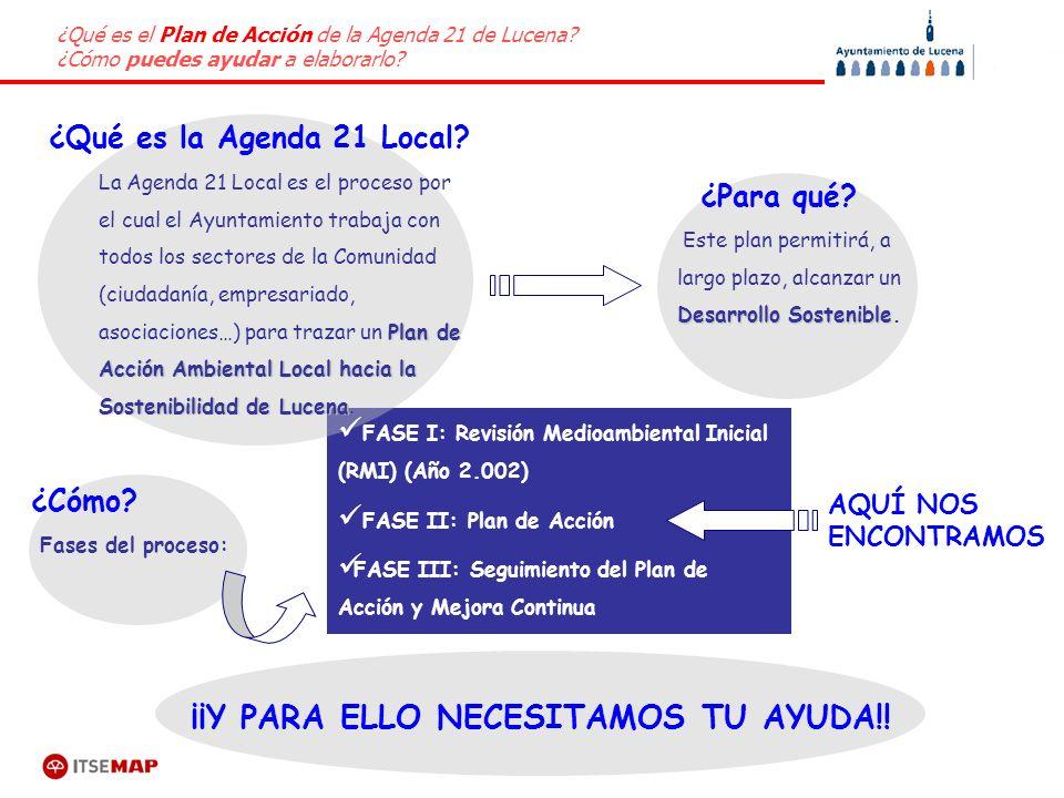 ¿Qué es el Plan de Acción de la Agenda 21 de Lucena? ¿Cómo puedes ayudar a elaborarlo? Fases del proceso: ¿Cómo? ¿Para qué? ¿Qué es la Agenda 21 Local
