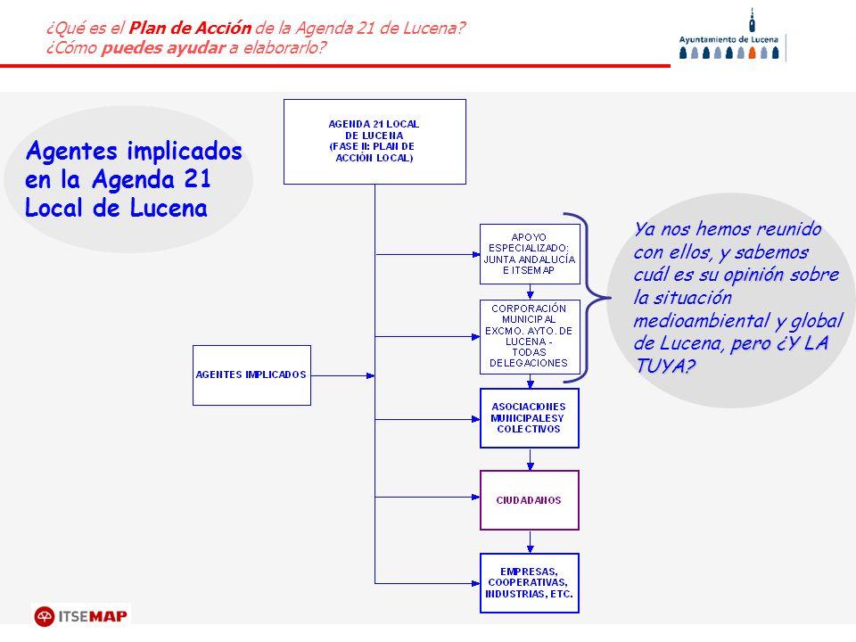 ¿Qué es el Plan de Acción de la Agenda 21 de Lucena? ¿Cómo puedes ayudar a elaborarlo? Agentes implicados en la Agenda 21 Local de Lucena opinión pero