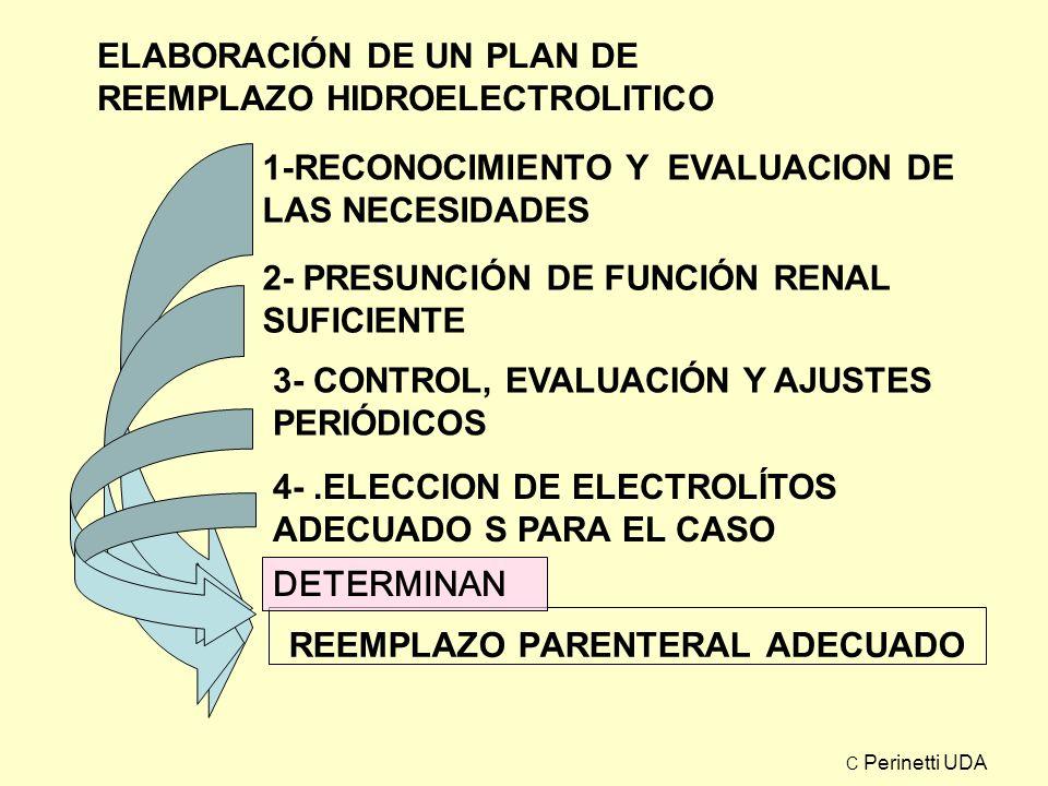 REEMPLAZO PARENTERAL ADECUADO 1-RECONOCIMIENTO Y EVALUACION DE LAS NECESIDADES 2- PRESUNCIÓN DE FUNCIÓN RENAL SUFICIENTE 3- CONTROL, EVALUACIÓN Y AJUS