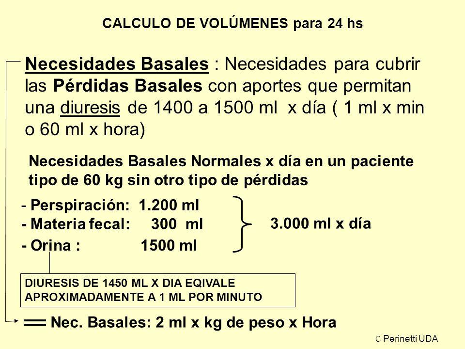 CALCULO DE VOLÚMENES para 24 hs Necesidades Basales : Necesidades para cubrir las Pérdidas Basales con aportes que permitan una diuresis de 1400 a 150