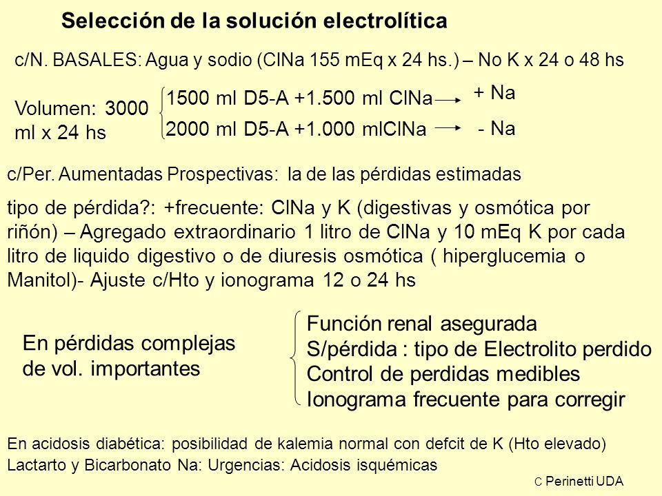 Selección de la solución electrolítica c/N. BASALES: Agua y sodio (ClNa 155 mEq x 24 hs.) – No K x 24 o 48 hs Volumen: 3000 ml x 24 hs 1500 ml D5-A +1