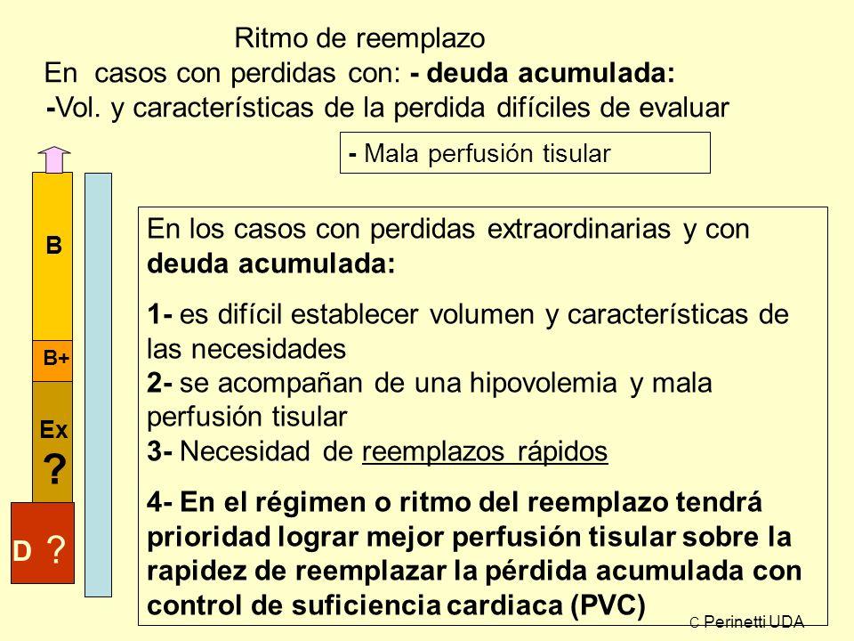 Ritmo de reemplazo En casos con perdidas con: - deuda acumulada: En los casos con perdidas extraordinarias y con deuda acumulada: 1- es difícil establ