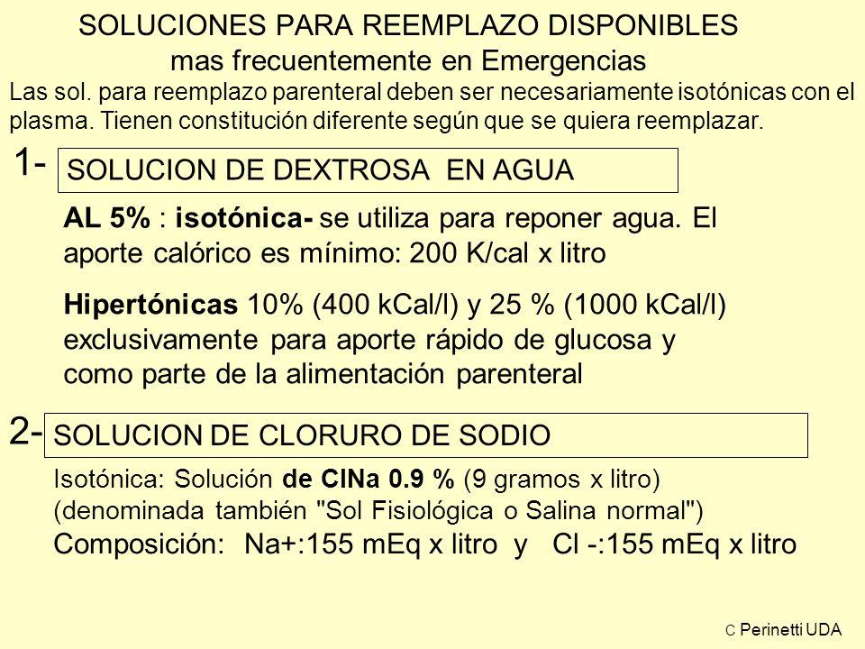 SOLUCIONES PARA REEMPLAZO DISPONIBLES mas frecuentemente en Emergencias 3- SOLUCIÓN DE RINGER: ( ClNa 8.6%, ClK: 0,3 %, ClCa: 0.3%) Cl: 157 - mEq/l + Na: 147 mEq/l + K: 4 mEq/l + Ca: 6 mEq/l 4- SOLUCIÓN DE RINGER LACTADO Cl - : 132 mEq/l Na + : 152 mEq/l Lactato de Na -: 28 mEq/l K +: 4 mEq/l Ca +: 4 mEq/l C Perinetti UDA