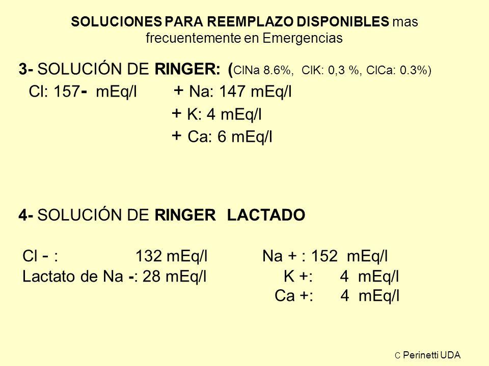 SOLUCIONES PARA REEMPLAZO DISPONIBLES mas frecuentemente en Emergencias 3- SOLUCIÓN DE RINGER: ( ClNa 8.6%, ClK: 0,3 %, ClCa: 0.3%) Cl: 157 - mEq/l +