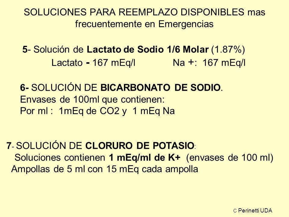SOLUCIONES PARA REEMPLAZO DISPONIBLES mas frecuentemente en Emergencias 5- Solución de Lactato de Sodio 1/6 Molar (1.87%) Lactato - 167 mEq/l Na + : 1