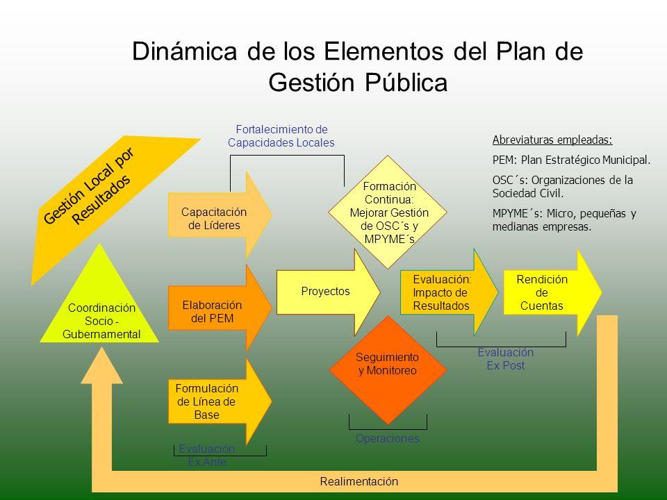 Dinámica de los Elementos del Plan de Gestión Pública Fortalecimiento de Capacidades Locales Coordinación Socio - Gubernamental Capacitación de Lídere