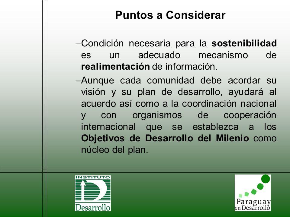 Puntos a Considerar –Condición necesaria para la sostenibilidad es un adecuado mecanismo de realimentación de información. –Aunque cada comunidad debe