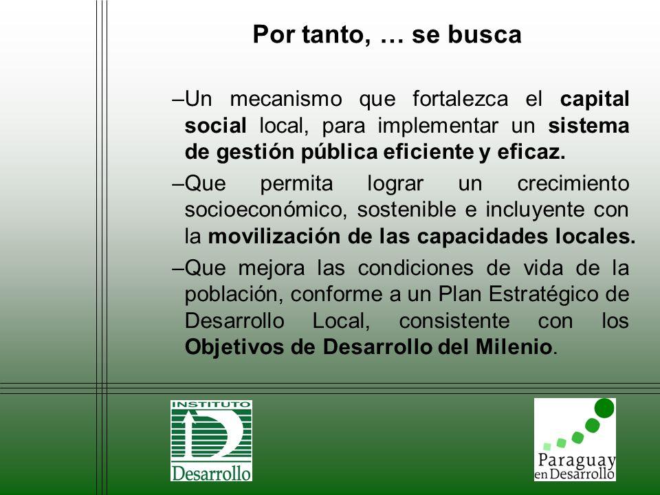 Por tanto, … se busca –Un mecanismo que fortalezca el capital social local, para implementar un sistema de gestión pública eficiente y eficaz. –Que pe