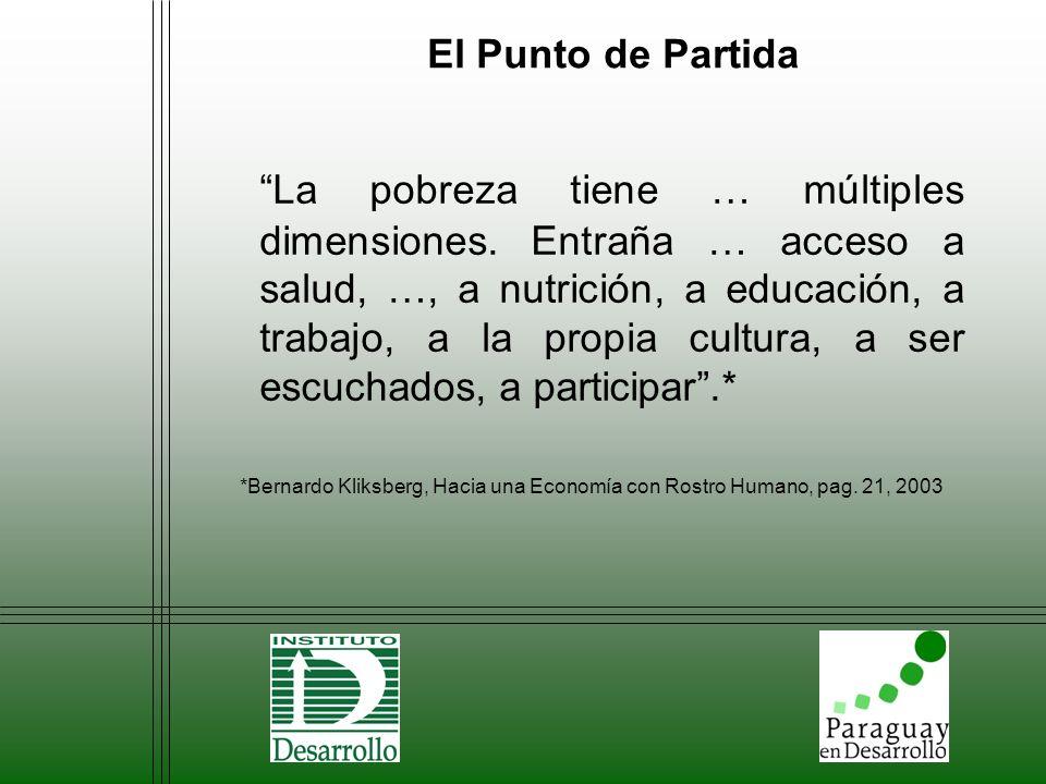 El Punto de Partida La pobreza tiene … múltiples dimensiones. Entraña … acceso a salud, …, a nutrición, a educación, a trabajo, a la propia cultura, a
