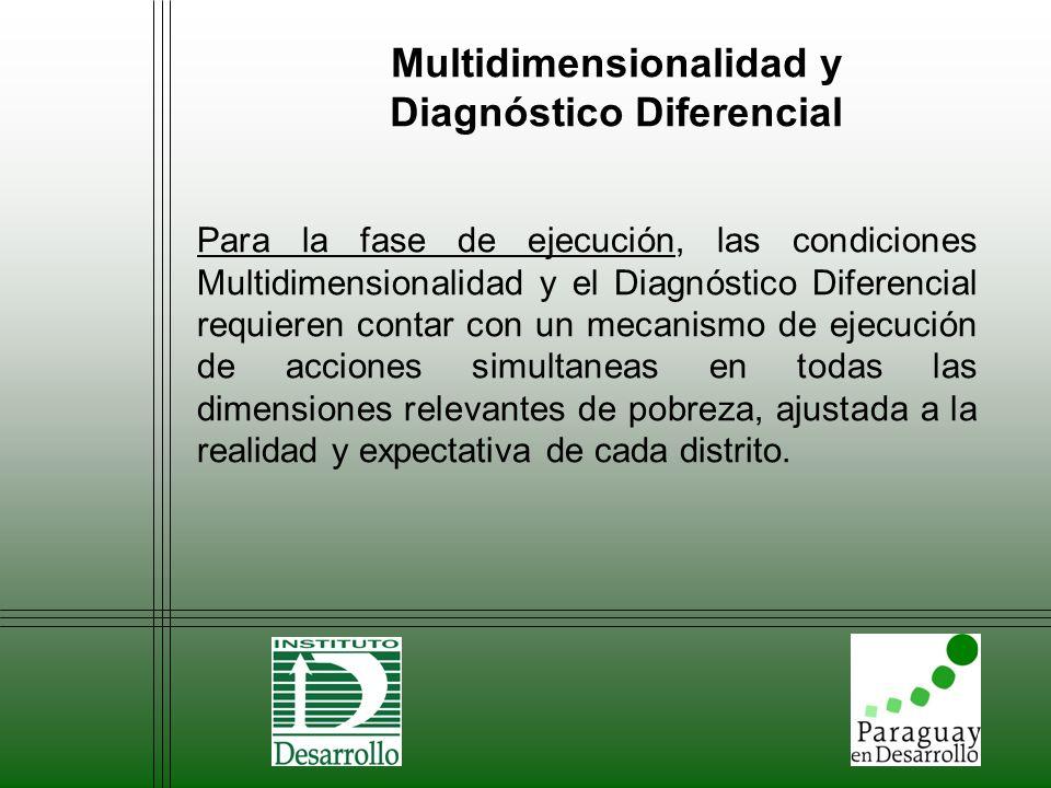 Multidimensionalidad y Diagnóstico Diferencial Para la fase de ejecución, las condiciones Multidimensionalidad y el Diagnóstico Diferencial requieren