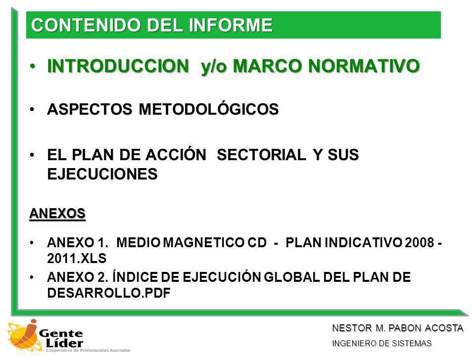 CONTENIDO DEL INFORME INTRODUCCION y/o MARCO NORMATIVOINTRODUCCION y/o MARCO NORMATIVO ASPECTOS METODOLÓGICOS EL PLAN DE ACCIÓN SECTORIAL Y SUS EJECUCIONES ANEXOS ANEXO 1.