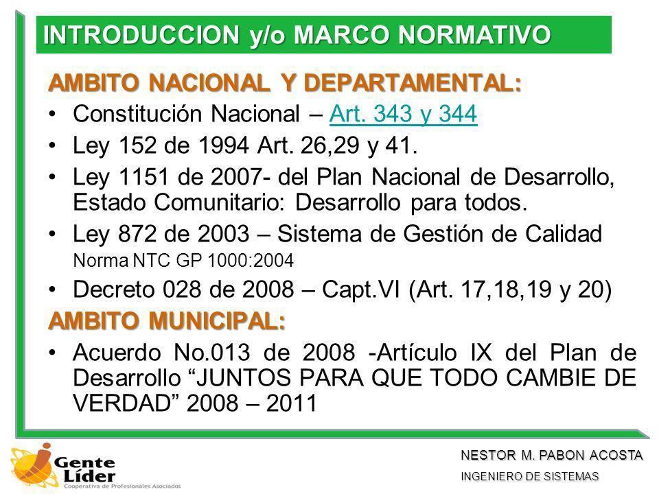 AMBITO NACIONAL Y DEPARTAMENTAL: Constitución Nacional – Art.
