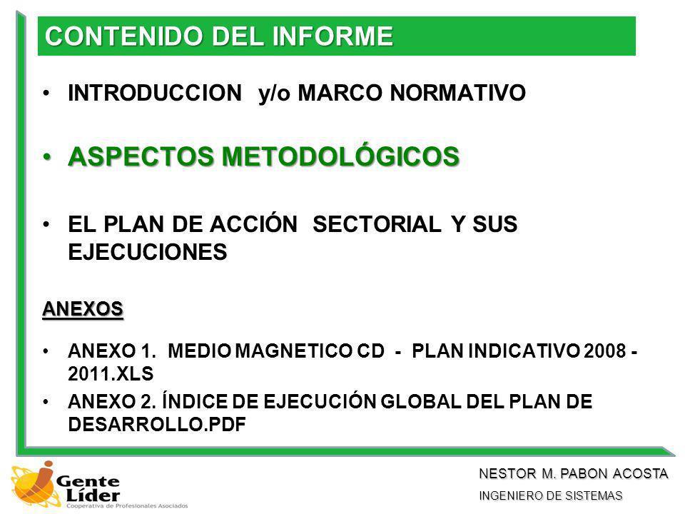 CONTENIDO DEL INFORME INTRODUCCION y/o MARCO NORMATIVO ASPECTOS METODOLÓGICOSASPECTOS METODOLÓGICOS EL PLAN DE ACCIÓN SECTORIAL Y SUS EJECUCIONES ANEXOS ANEXO 1.