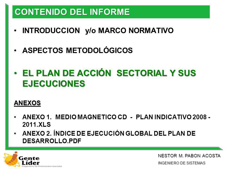 CONTENIDO DEL INFORME INTRODUCCION y/o MARCO NORMATIVO ASPECTOS METODOLÓGICOS EL PLAN DE ACCIÓN SECTORIAL Y SUS EJECUCIONESEL PLAN DE ACCIÓN SECTORIAL Y SUS EJECUCIONES ANEXOS ANEXO 1.