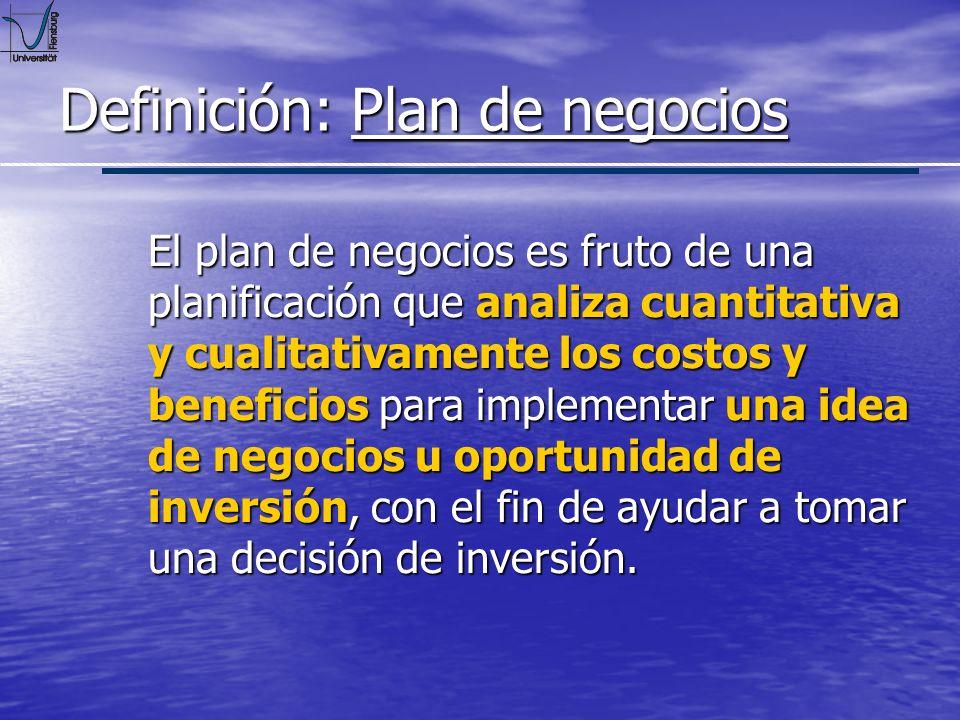 Definición: Plan de negocios Es un medio en donde se establecen planes y muestra cómo estos podrían ser logrados.
