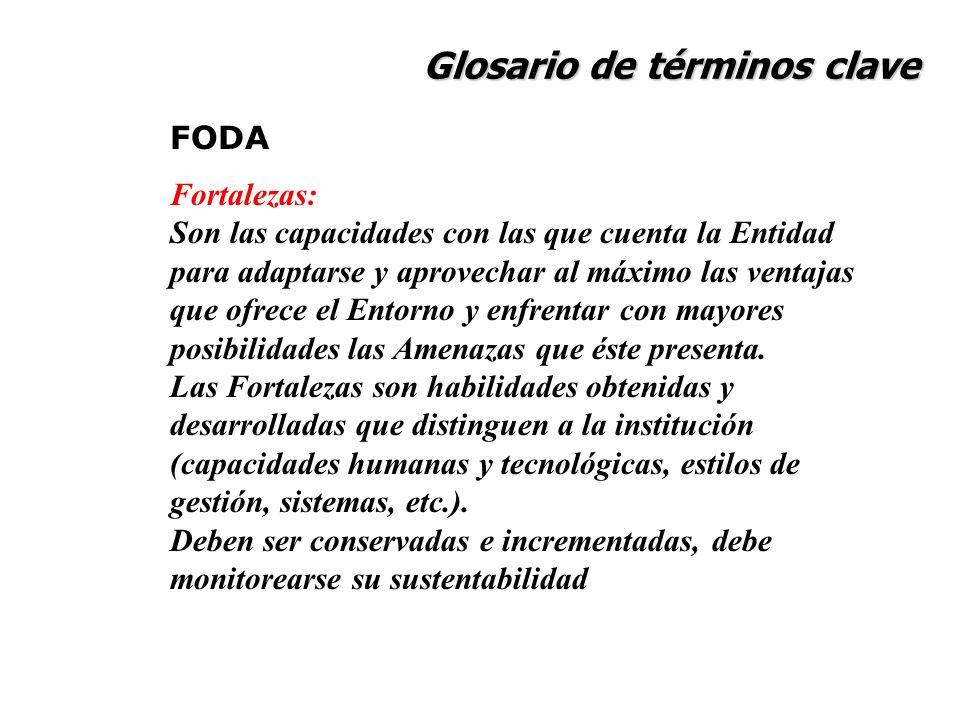 Glosario de términos clave FODA Fortalezas: Son las capacidades con las que cuenta la Entidad para adaptarse y aprovechar al máximo las ventajas que o