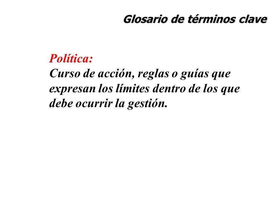Glosario de términos clave Política: Curso de acción, reglas o guías que expresan los límites dentro de los que debe ocurrir la gestión.