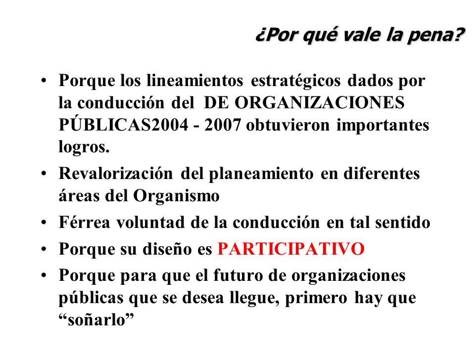 Porque los lineamientos estratégicos dados por la conducción del DE ORGANIZACIONES PÚBLICAS2004 - 2007 obtuvieron importantes logros. Revalorización d