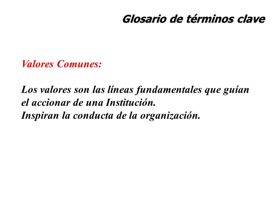 Glosario de términos clave Valores Comunes: Los valores son las líneas fundamentales que guían el accionar de una Institución. Inspiran la conducta de