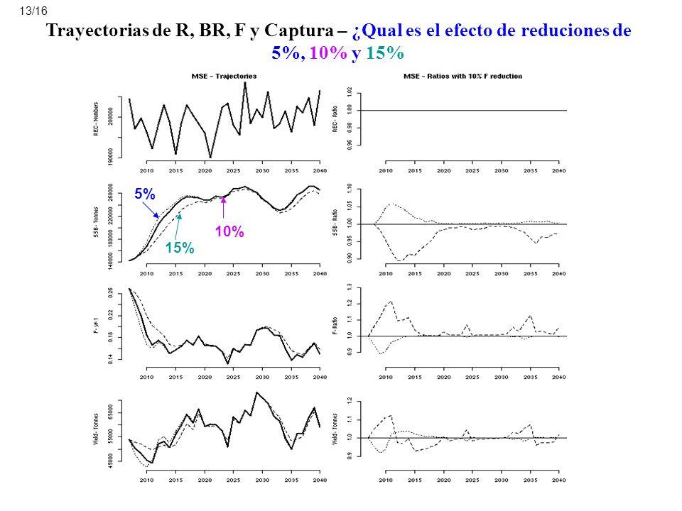 Trayectorias de R, BR, F y Captura – ¿Qual es el efecto de reduciones de 5%, 10% y 15% 5% 10% 15% 13/16