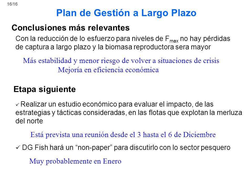 Conclusiones más relevantes Etapa siguiente Plan de Gestión a Largo Plazo Realizar un estudio económico para evaluar el impacto, de las estrategias y