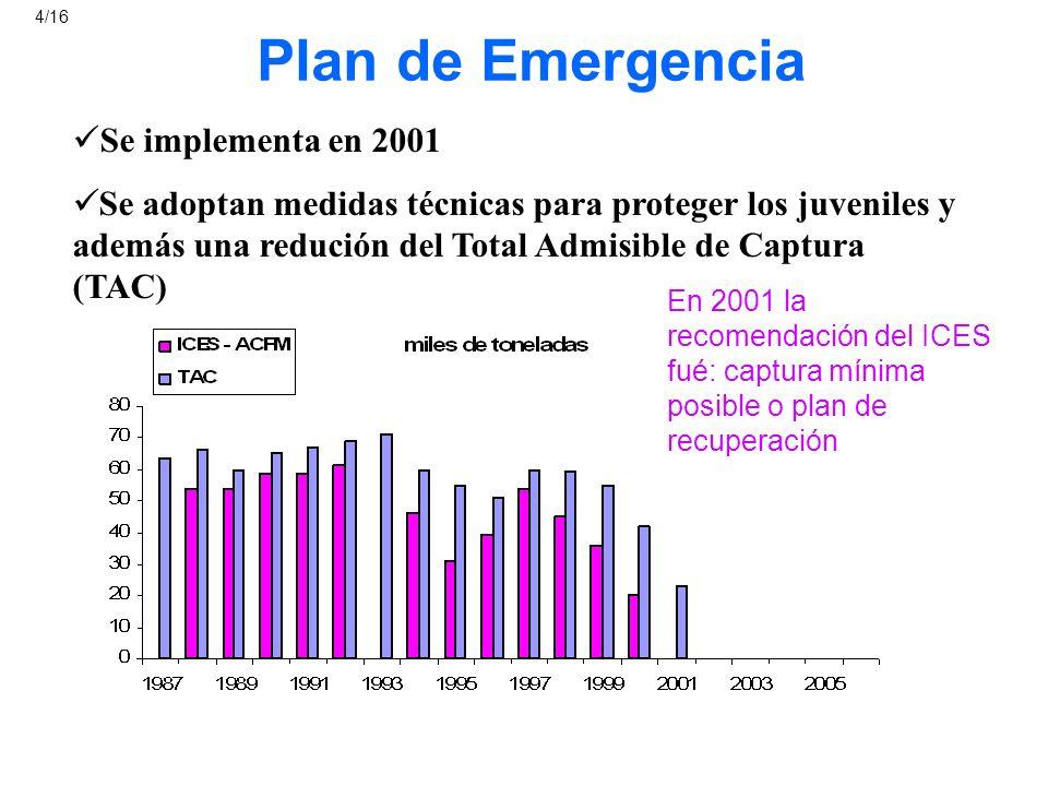 Plan de Recuperación Se implementa en 2004 Objetivo es recuperar la biomasa reproductora (BR) a niveles de las 140 miles de toneladas = el punto de referencia de Precaución (i) Se BR 100 (limite) entonces F 0.25 y TAC 15% (ii) Se BR < 100 (limite) Aplicar regla (i): ¿ resulta en un incremento de la biomasa reproductora.