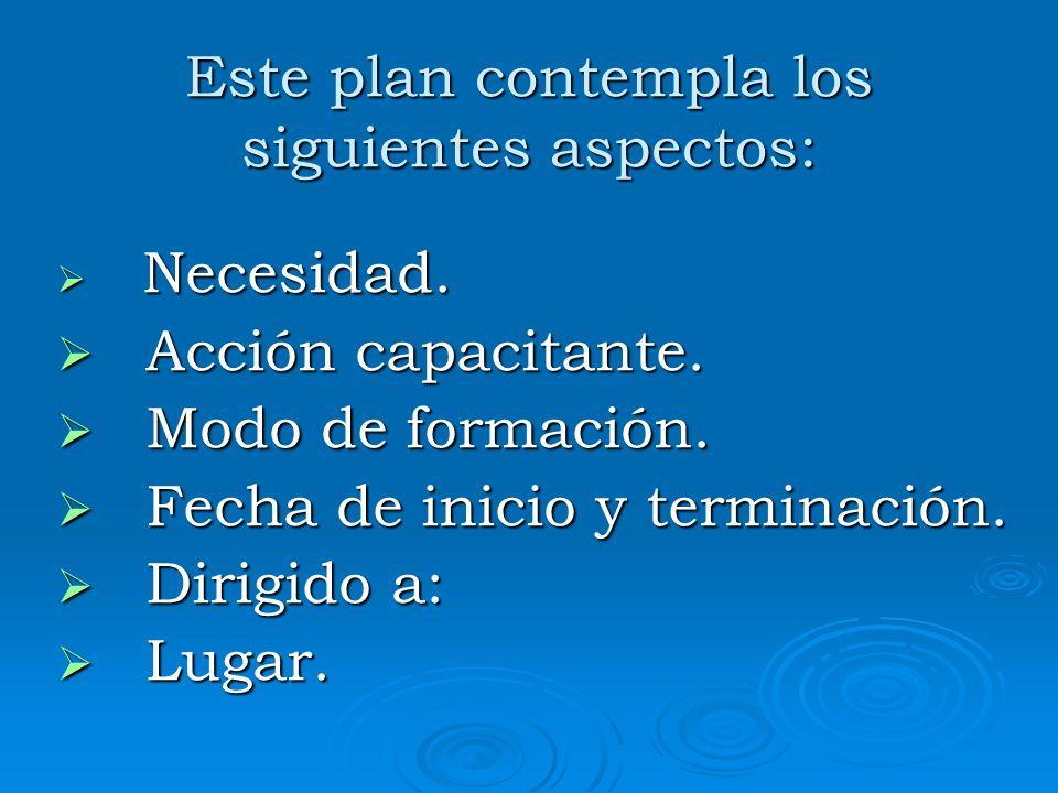 Este plan contempla los siguientes aspectos: Necesidad. Necesidad. Acción capacitante. Acción capacitante. Modo de formación. Modo de formación. Fecha