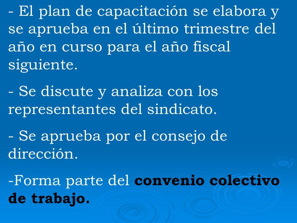 - El plan de capacitación se elabora y se aprueba en el último trimestre del año en curso para el año fiscal siguiente. - Se discute y analiza con los