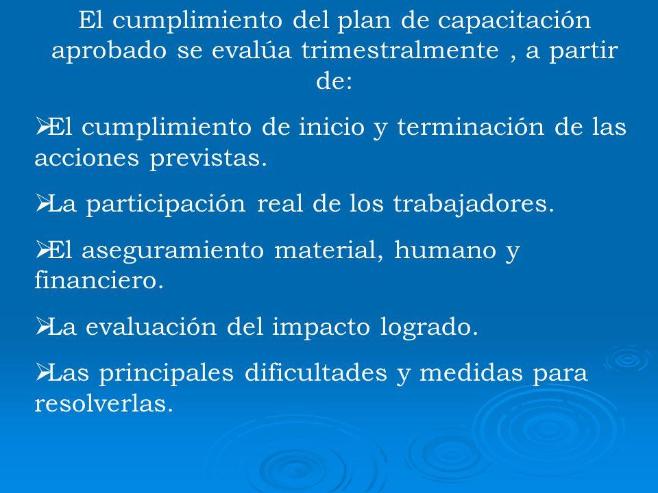 El cumplimiento del plan de capacitación aprobado se evalúa trimestralmente, a partir de: El cumplimiento de inicio y terminación de las acciones prev