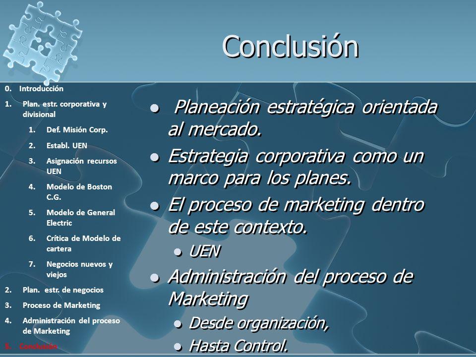 Conclusión Planeación estratégica orientada al mercado. Estrategia corporativa como un marco para los planes. El proceso de marketing dentro de este c