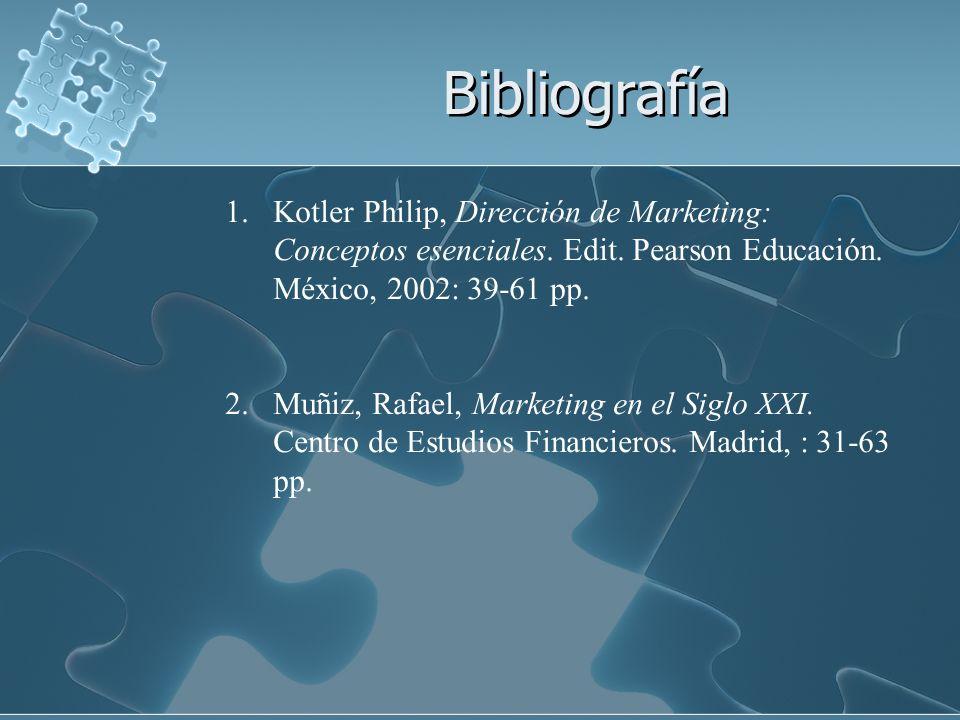 Bibliografía 1.Kotler Philip, Dirección de Marketing: Conceptos esenciales. Edit. Pearson Educación. México, 2002: 39-61 pp. 2.Muñiz, Rafael, Marketin