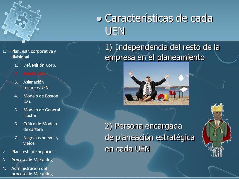 Características de cada UEN 1) Independencia del resto de la empresa en el planeamiento 2) Persona encargada de planeación estratégica en cada UEN 1.P