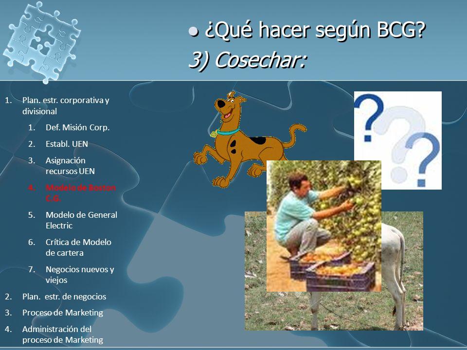 ¿Qué hacer según BCG? 3) Cosechar: 1.Plan. estr. corporativa y divisional 1.Def. Misión Corp. 2.Establ. UEN 3.Asignación recursos UEN 4.Modelo de Bost