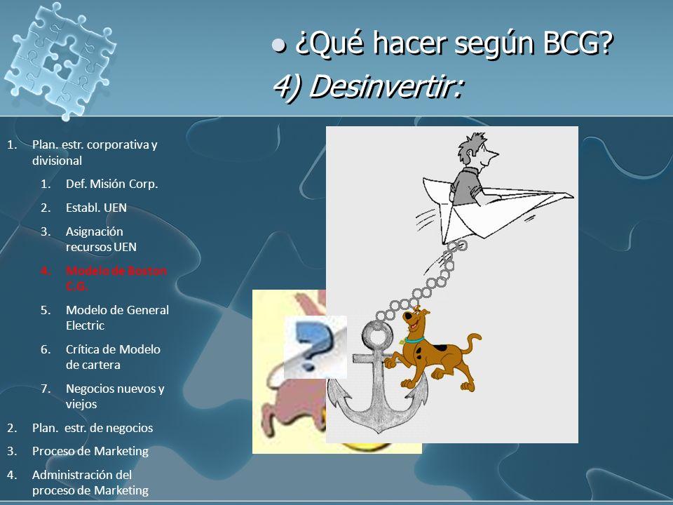 ¿Qué hacer según BCG? 4) Desinvertir: 1.Plan. estr. corporativa y divisional 1.Def. Misión Corp. 2.Establ. UEN 3.Asignación recursos UEN 4.Modelo de B