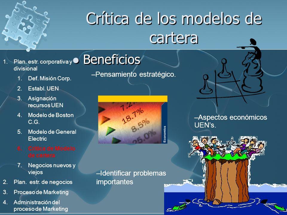 Crítica de los modelos de cartera Beneficios –Pensamiento estratégico. –Aspectos económicos UENs. –Identificar problemas importantes 1.Plan. estr. cor