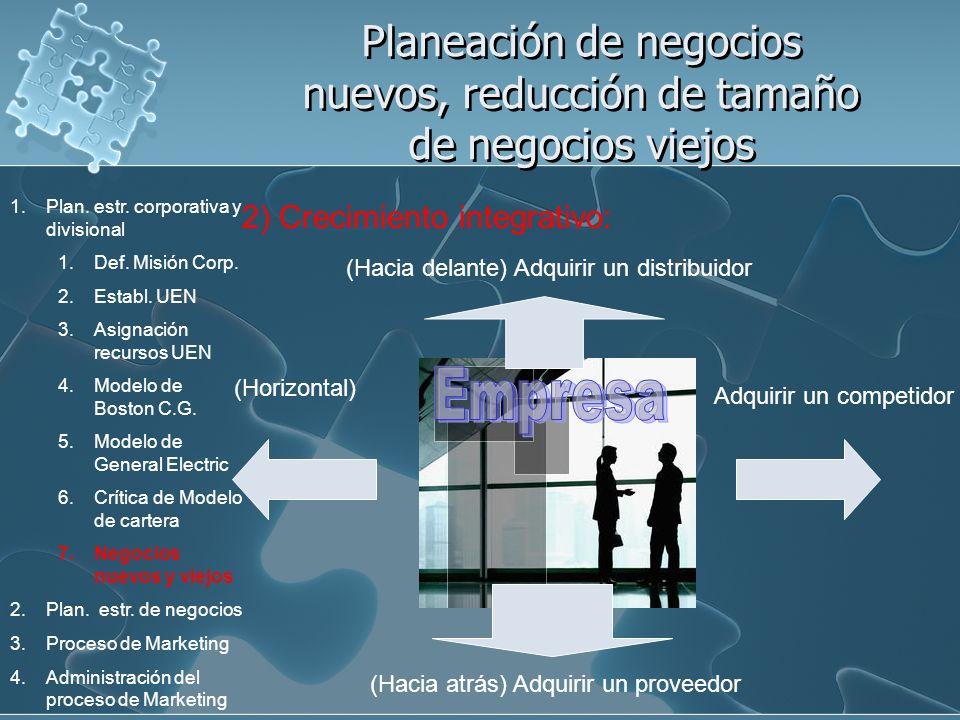 Planeación de negocios nuevos, reducción de tamaño de negocios viejos 2) Crecimiento integrativo: (Hacia atrás) Adquirir un proveedor (Hacia delante)