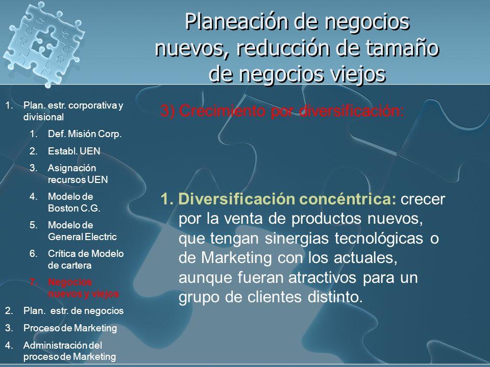 Planeación de negocios nuevos, reducción de tamaño de negocios viejos 3) Crecimiento por diversificación: 1. Diversificación concéntrica: crecer por l