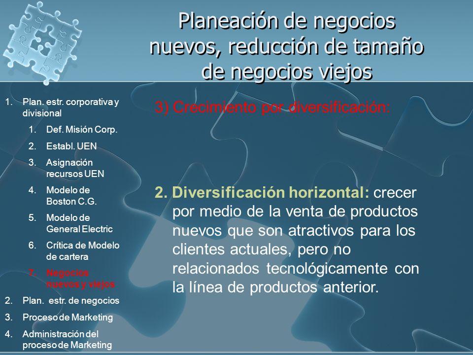 Planeación de negocios nuevos, reducción de tamaño de negocios viejos 3) Crecimiento por diversificación: 2. Diversificación horizontal: crecer por me