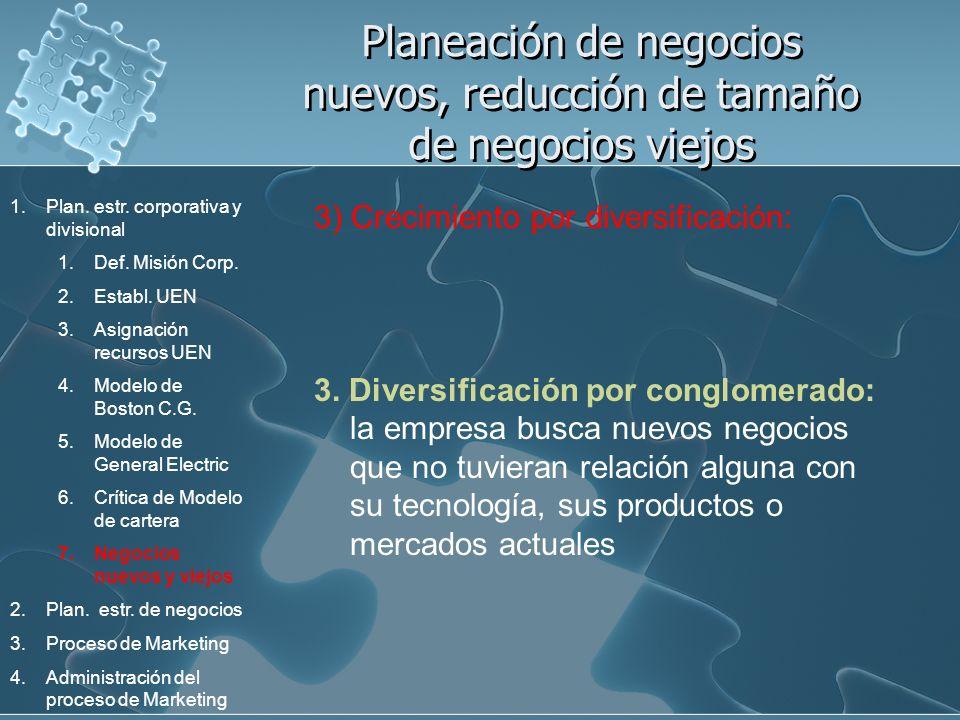 Planeación de negocios nuevos, reducción de tamaño de negocios viejos 3) Crecimiento por diversificación: 3. Diversificación por conglomerado: la empr