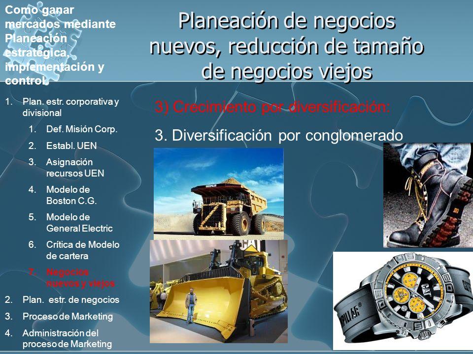 Planeación de negocios nuevos, reducción de tamaño de negocios viejos 3) Crecimiento por diversificación: 3. Diversificación por conglomerado Como gan