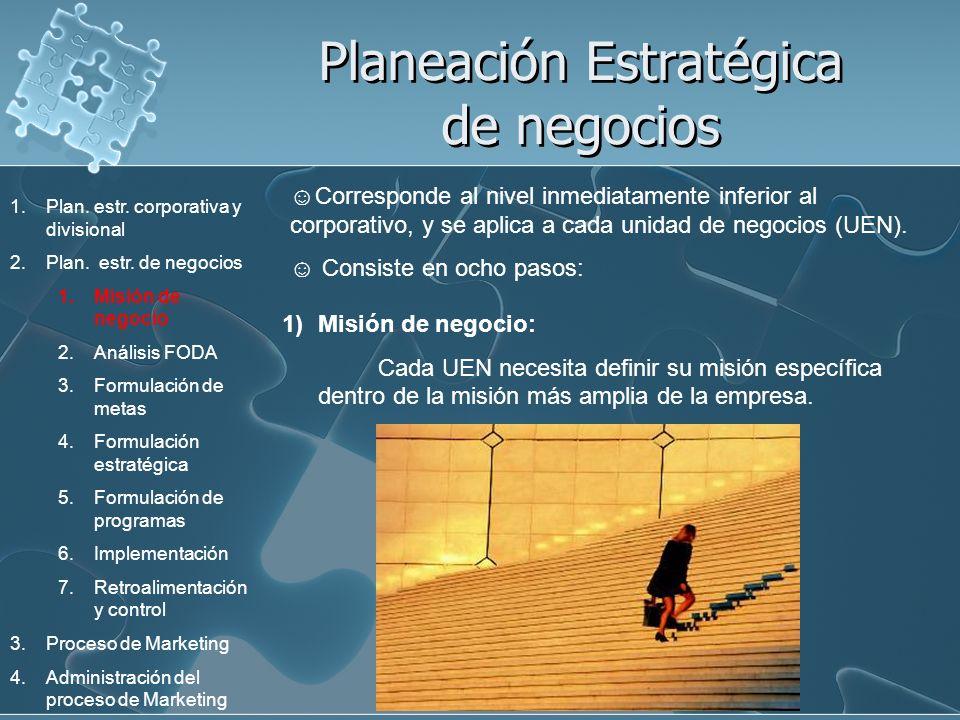 Planeación Estratégica de negocios Corresponde al nivel inmediatamente inferior al corporativo, y se aplica a cada unidad de negocios (UEN). Consiste